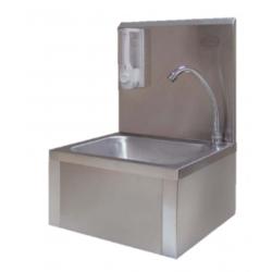 Lave mains standard inox avec porte savon et commande fémorale