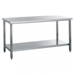 Table inox centrale avec étagère pleine profondeur 800