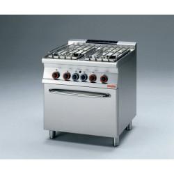 Piano de cuisson professionnel 4 feux vifs gaz + four GN 2/1 GAZ