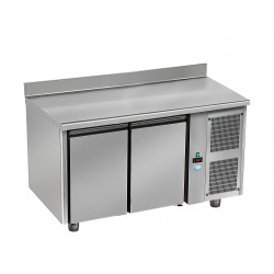 Table pâtissière réfrigérée - 2 portes - Inox + dosseret